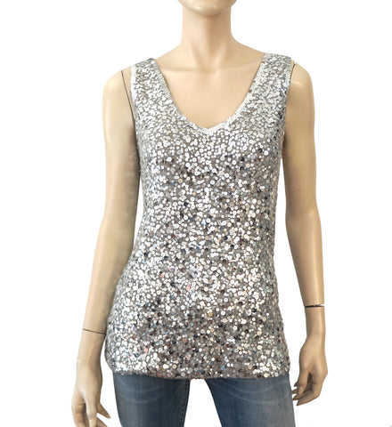 DONNA KARAN COLLECTION Sequined Pointelle Knit Cashmere Silk Tank L