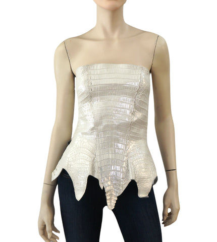 CARLOS FALCHI Strapless Crocodile Corset w/ Tags, Small