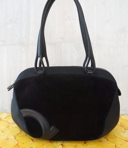SALVATORE FERRAGAMO Gancini Logo Black Suede Neoprene Boston Bag