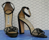 MANOLO BLAHNIK 38.5 Lauratopri Ankle-Strap Lace Sandals Open Toe Heels 8