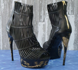 ALEXANDER McQUEEN 39 Black Leather Koi Fish Caged Platform Sandals Booties 8.5