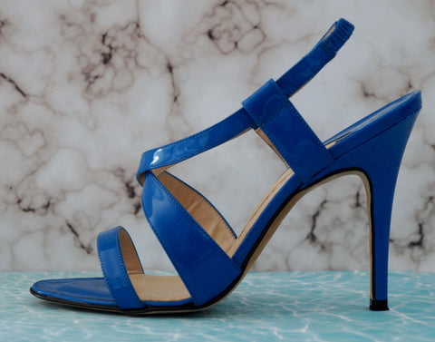 MANOLO BLAHNIK 36.5 Pool Blue Patent Leather Crossover Slingback Sandals 6
