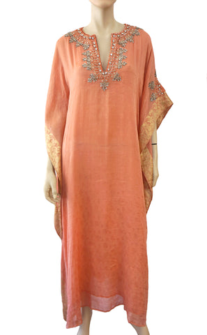 BADGLEY MISCHKA COUTURE Embellished Peach Silk Jacquard Caftan Gown ONE SIZE