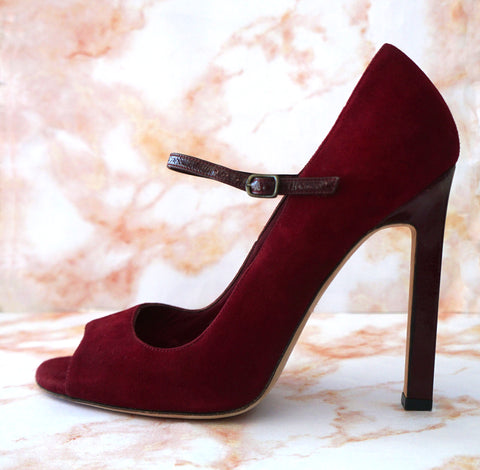 MANOLO BLAHNIK 37.5 Burgundy Red Suede Mary Jane Open Toe Patent Heels Pumps 7