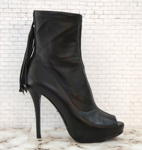 JEROME C. ROUSSEAU 39 Comet Black Leather Tassel Ankle Boots Booties 8.5