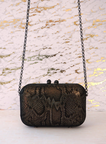 KOTUR Metallic Bronze Black Suede Animal Print Box Clutch Shoulder Bag BRAND NEW