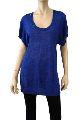 TWELFTH STREET CYNTHIA VINCENT Short Sleeve Royal Blue Tunic Top Mini Dress S