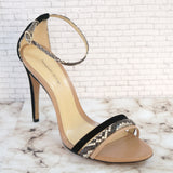 ALEXANDRE BIRMAN 9 Beige and Black Suede and Snakeskin Strappy Sandals Heels