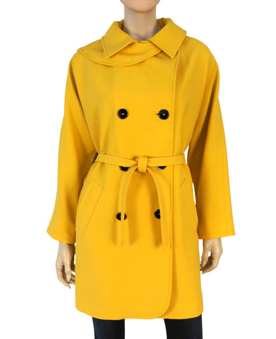 DOLCE & GABBANA Women's Mustard Yellow Wool Trench Coat 42 US 8