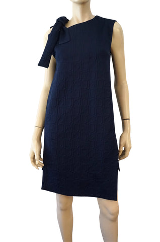 MARNI Sleeveless Navy Double Knit Textured Long Tunic Mini Dress S