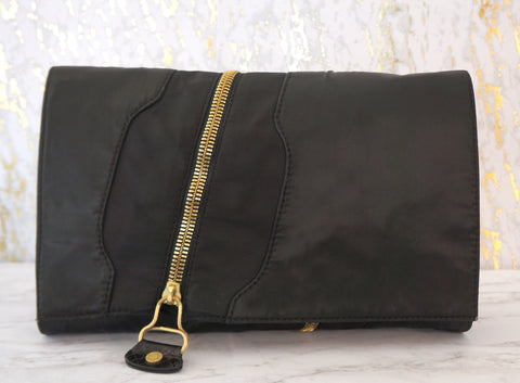 JIMMY CHOO Martha Black Nylon Gold Zip Trim Convertible Clutch Bag $825 Ret