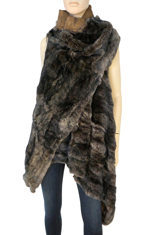 ANN DEMEULEMEESTER Draped Front Reversible Gray Brown Fur Coat Vest Jacket S