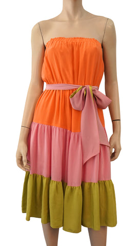 HERA Strapless Colorblock Tiered Silk Midi Dress M BNWT