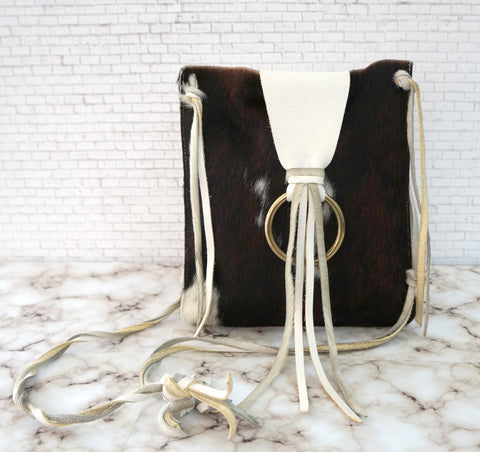 IL BISONTE x LUISAVIAROMA White Leather Animal Print Pony Shoulder Crossbody Bag
