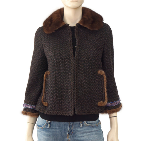 ANDREW GN Embellished Mink Collar Wool Tweed Cropped Jacket 38 US 6