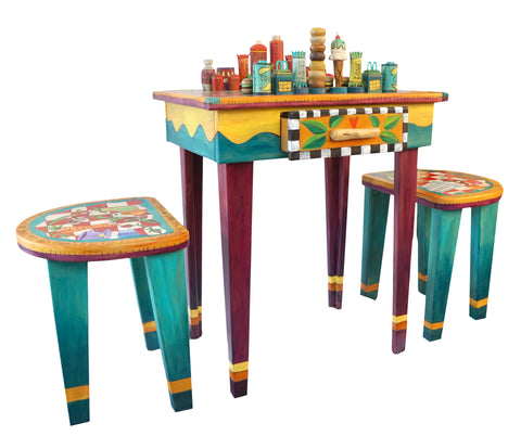 STICKS Handmade Chess and Checkers Game Table Stools Fast Food vs Health Food