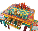 STICKS Handmade Chess & Checkers Game Table with Stools Handicraft masterpiece