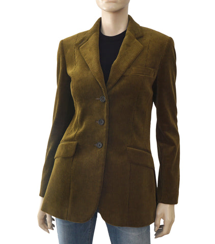 JAMES PURDEY & SONS Olive Green Corduroy Blazer Riding Jacket 10R