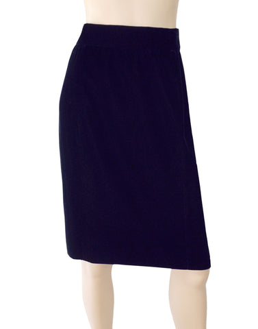 CHANEL Navy Blue Velvet Knee Pencil Skirt 6 Vintage NEW