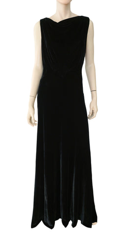 BERGDORF GOODMAN Vintage Black Velvet Plunge Back Sleeveless Gown M