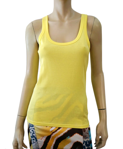 RALPH LAUREN BLACK LABEL Yellow Ribbed Cotton Tank Top L BRAND NEW
