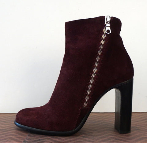 RAG & BONE 39 Avery Burgundy Suede Booties Ankle Boots 8.5