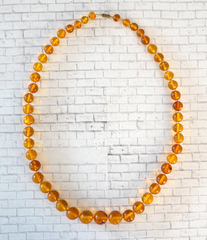 ANTIQUE BALTIC Natural Amber Necklace Honey Butterscotch Graduated Beads 51gr