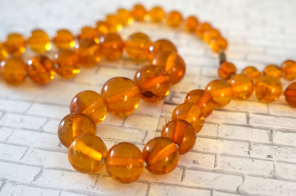 32gr Genuine and natural amber butterscotch handmade graduated beads necklace healing amber chips #3