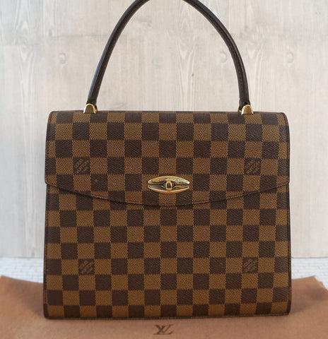 LOUIS VUITTON Damier Ebene Malesherbes Top Handle Bag AUTHENTIC