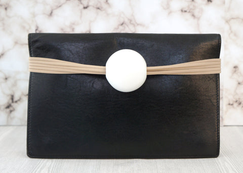 MARION VIDAL Black Leather Horizon Flap Clutch Bag