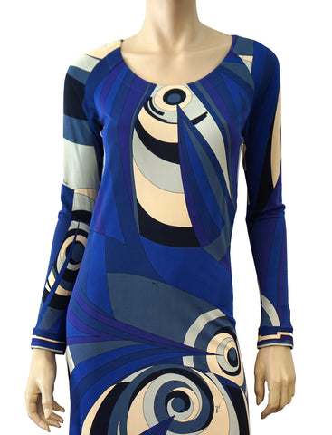 EMILIO PUCCI Blue Abstract Print Silk Jersey Dress 38 US 2