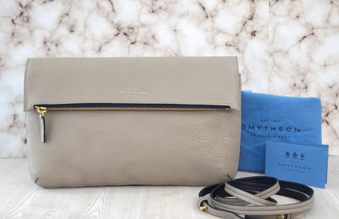 SMYTHSON Crossbody Chameleon Dove Gray Leather Flap Front Bag Clutch NEW