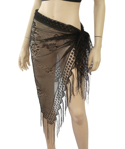 PEPPERMINT BAY Fringed Black Mesh Pareo Sarong One Size BRAND NEW