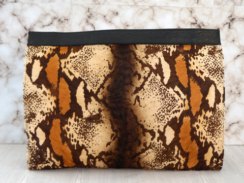 MARA CARRIZO SCALISE Multi Color Animal Print Pony Hair Black Leather Clutch