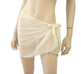 CHIARUGI Embellished Ivory Cotton Mesh Bathing Swim Cover-Up Sarong One Size