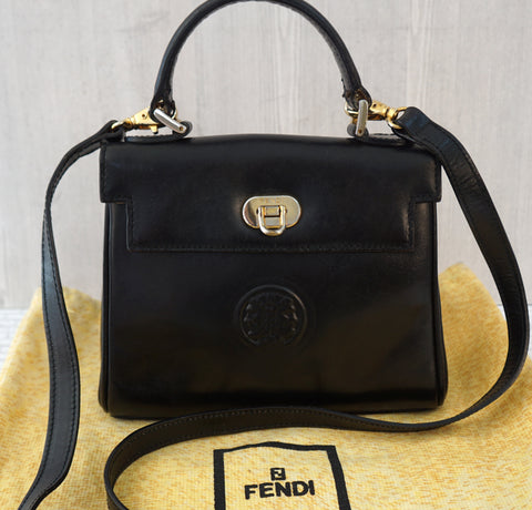 FENDI Vintage Convertible Black Leather Top Handle Crossbody Mini Bag