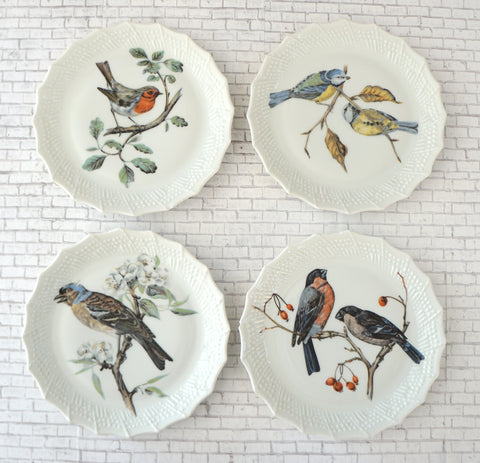 LIMOGES France 4 Hand Painted Bird Hors D' Oeuvres Snack Small Plates ca 1940