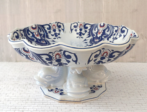 ANTIQUE ROUEN SALINS FRANCE Faience Large Koi Fish Footed Bowl Centerpiece