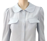 MARNI Light Blue Crepe Peter Pan Collar Snap Jacket Blouse Top 44 US 8 NEW