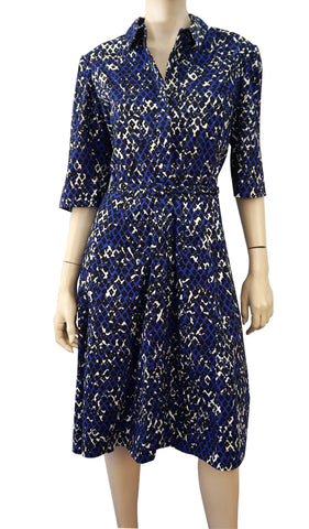 OSCAR DE LA RENTA R17 Elbow Sleeve Belted Cotton Midi Shirt Dress 16 NWOT