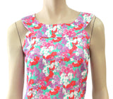 LEGGIADRO Sleeveless Floral Print Stretch Cotton Pique Sheath Dress 44 US 10