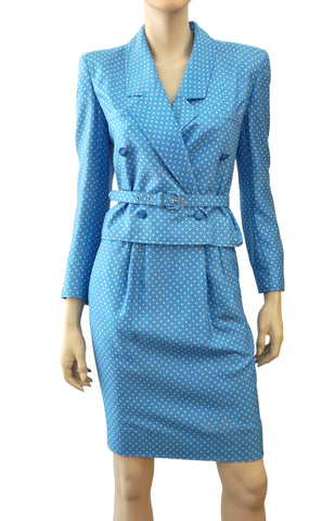 VALENTINO BOUTIQUE Vintage Pool Blue Polka Dot Silk Twill Belted Skirt Suit 0