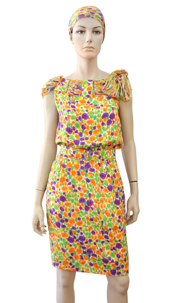 VALENTINO NIGHT Vintage Belted Op Art Dot Print Silk Dress and Headband S