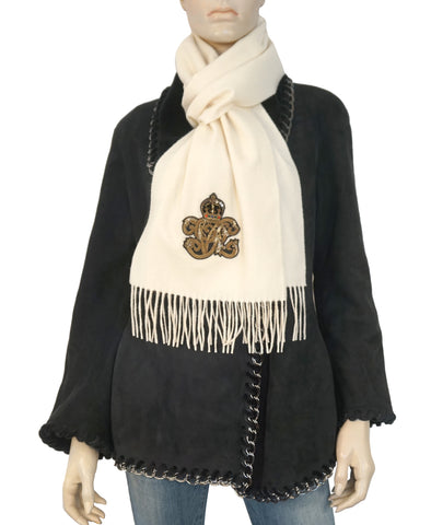 RALPH LAUREN COLLECTION Crown Applique Ivory Cashmere Fringed Scarf