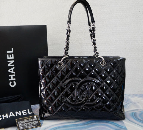 CHANEL Black Patent Leather Grand Shopper Tote Shoulder Bag AUTHENTIC