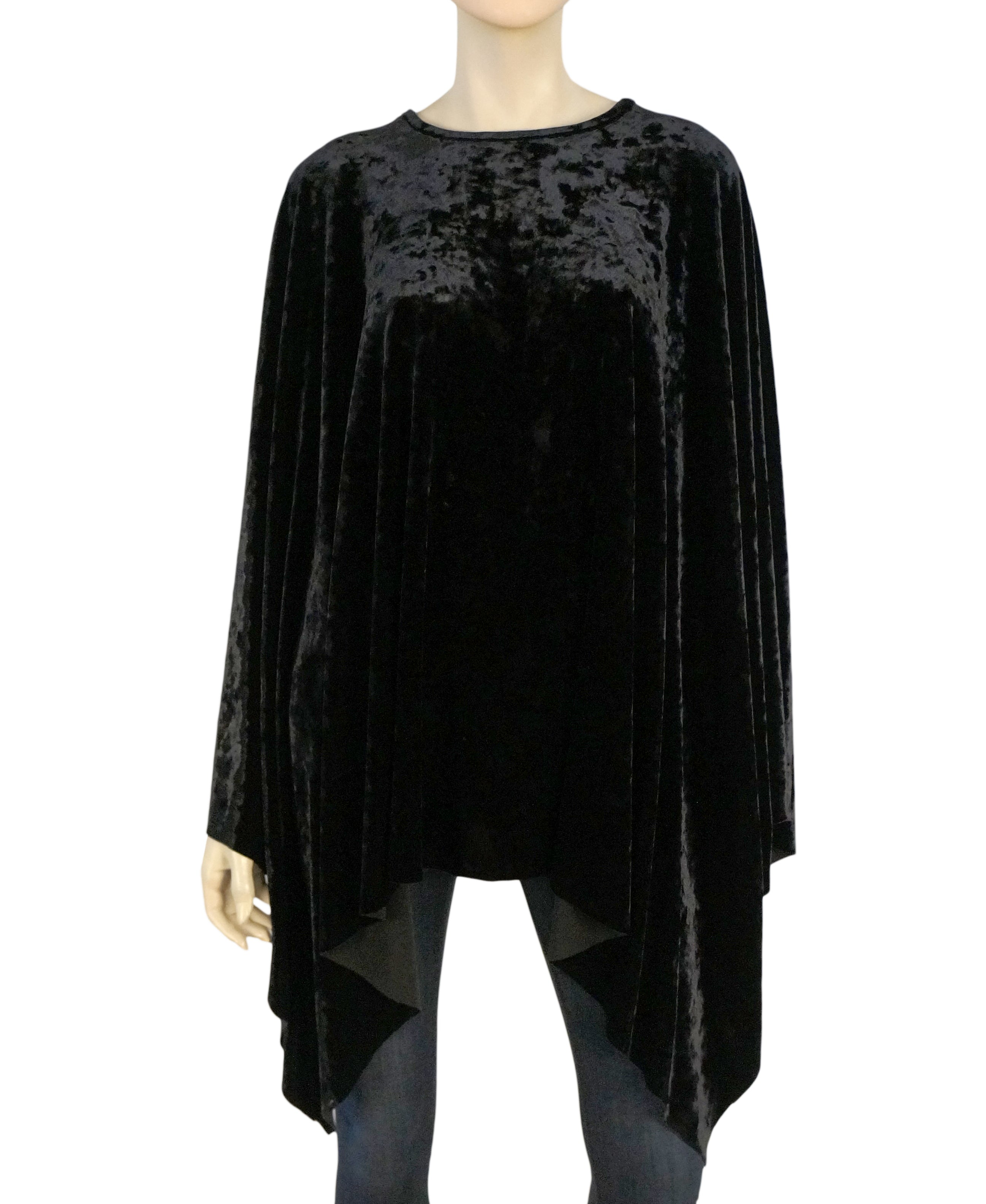 20d6c9e79 KABUKI Tracy Thomson Black Velvet Poncho Evening Cape OSFM – LaLaStyle