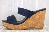 JIMMY CHOO 40 Parker Double Band Denim Blue Leather Wedge Sandal 9.5