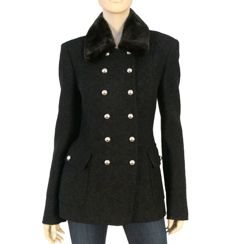 MICHAEL KORS COLLECTION Black Wool Boucle Fur Collar Peacoat Jacket 12 NEW