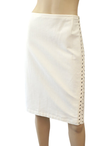 RALPH LAUREN PURPLE LABEL White Corset-Laced Cotton Pencil Skirt 12