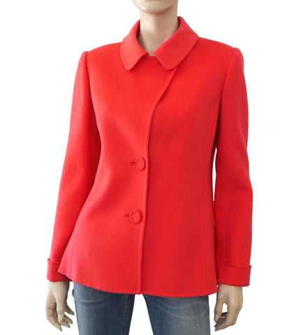 OSCAR DE LA RENTA Double Face Watermelon Cashmere Jacket 10